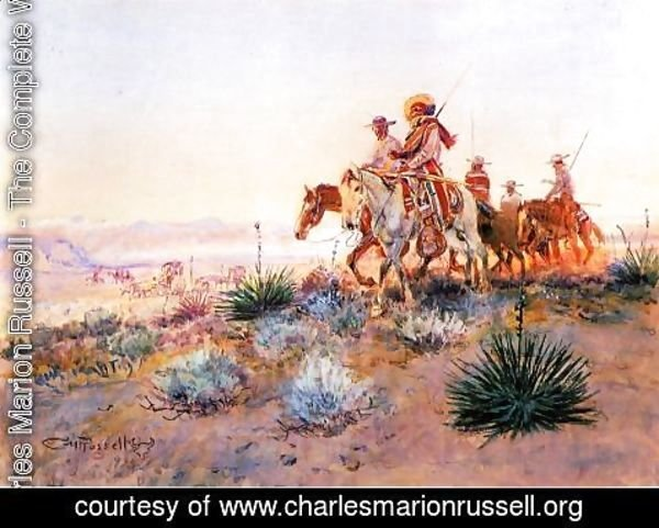 Charles Marion Russell - Mexican Buffalo Hunters