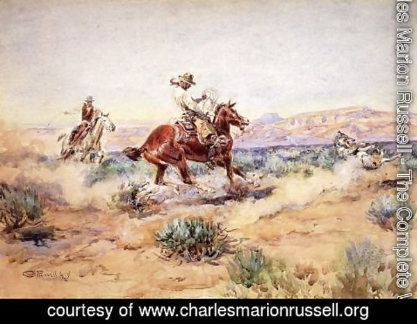 Charles Marion Russell - Roping a Wolf