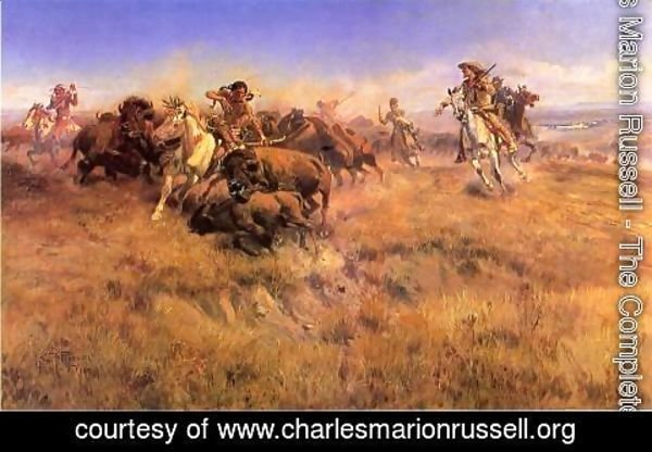 Charles Marion Russell - Running Buffalo