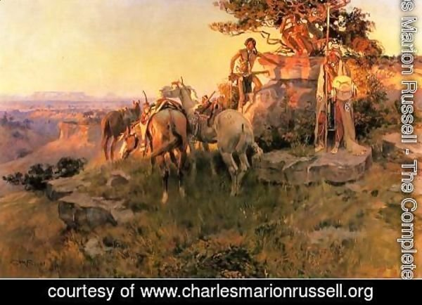 Charles Marion Russell - Watching for Wagons