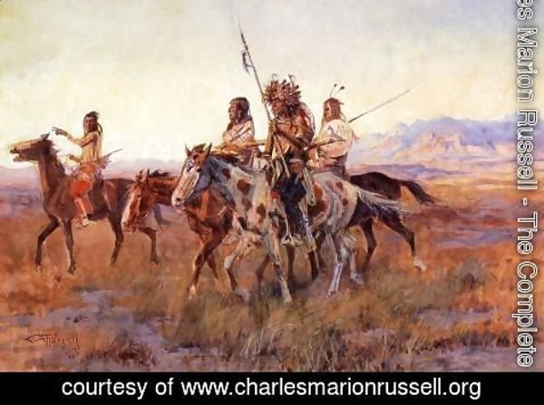 Charles Marion Russell - Four Mounted Indians