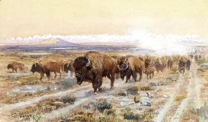 Charles Marion Russell - The Bison Trail