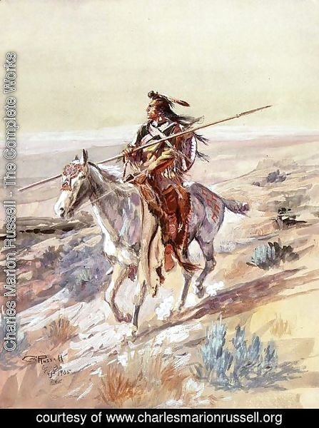 Charles Marion Russell - Indian with Spear