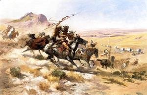 Charles Marion Russell - Attack on a Wagon Train