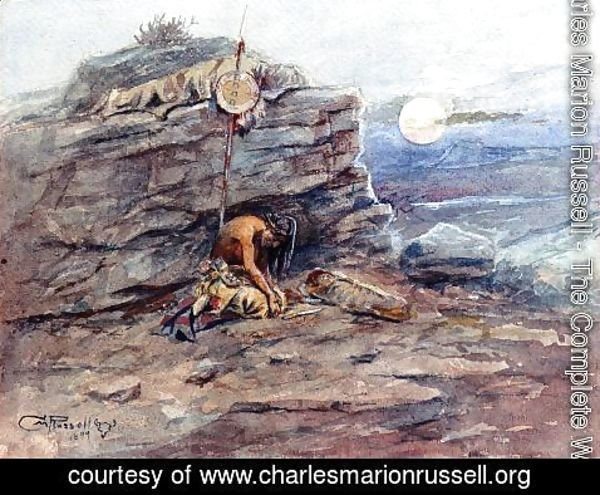 Charles Marion Russell - Mourning Her Warrior Dead