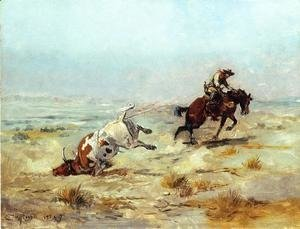 Charles Marion Russell - Lassoing a Steer