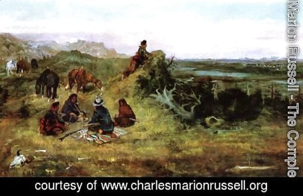 Charles Marion Russell - The Piegans Preparing to Steal Horses from the Crows