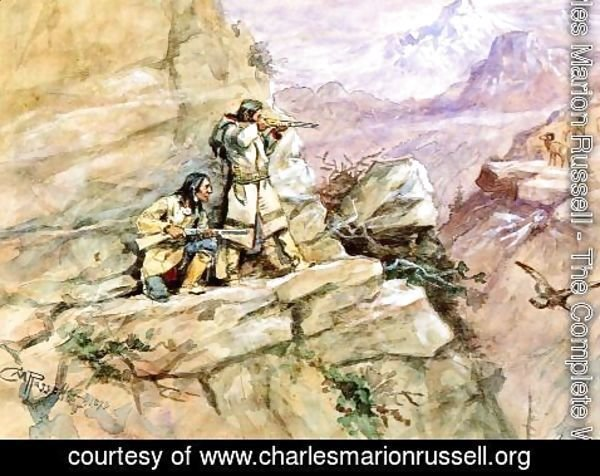Charles Marion Russell - Hunting Big Horn Sheep