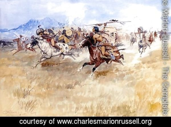 Charles Marion Russell - The Battle Between the Blackfeet and the Piegans