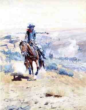 Charles Marion Russell - Pointing Out the Trail