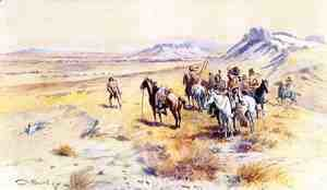 Charles Marion Russell - Indian War Party