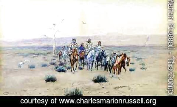 Charles Marion Russell - Trappers Crossing the Prarie