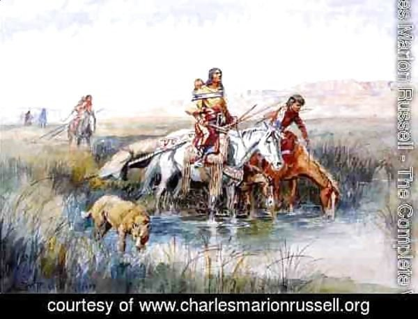 Charles Marion Russell - Indian Women Moving Camp