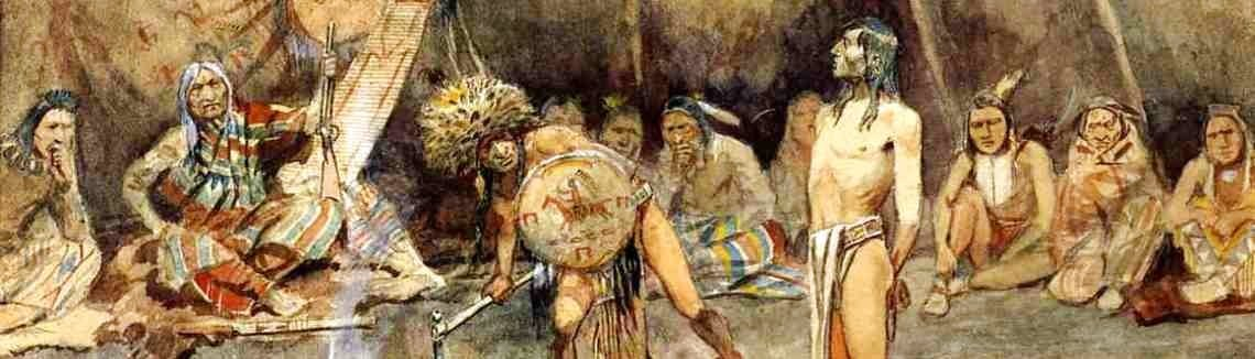 Charles Marion Russell - Sioux Torturing a Blackfoot Brave