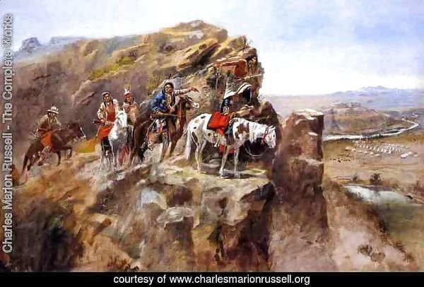 Indians on a Bluff Surveying General Miles' Troops