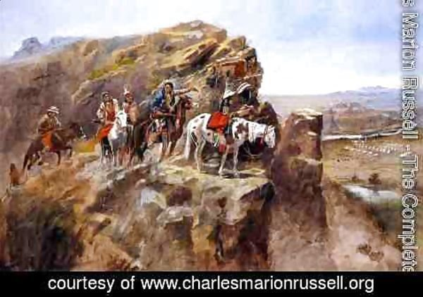 Charles Marion Russell - Indians on a Bluff Surveying General Miles' Troops
