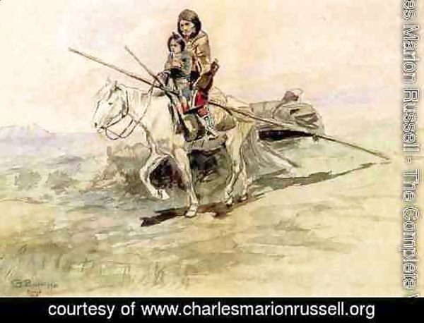 Charles Marion Russell - Indian on Horseback with a Child