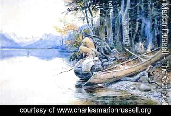 Charles Marion Russell - A Campsite by the Lake