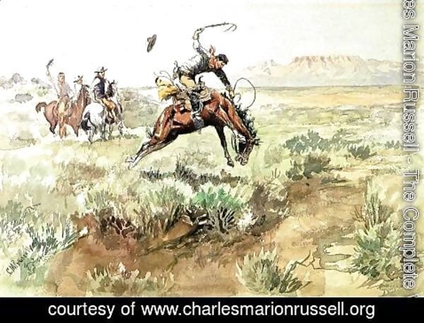 Charles Marion Russell - Bronco Busting
