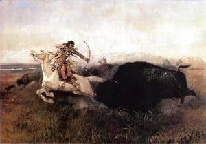 Charles Marion Russell - Indians Hunting Buffalo
