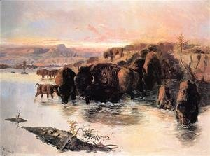 Charles Marion Russell - The Buffalo Herd