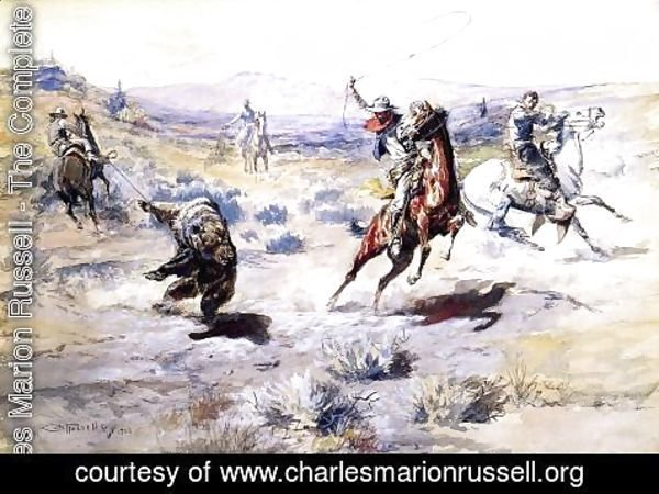 Charles Marion Russell - Roping a Grizzly