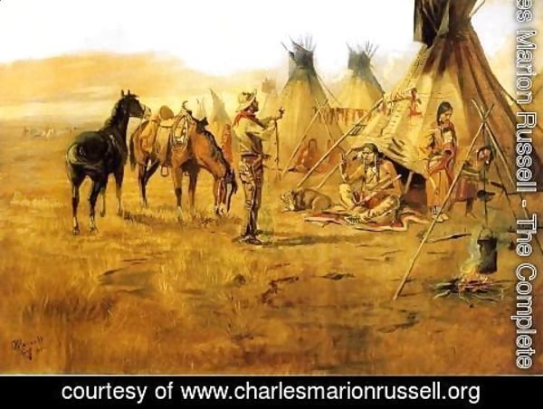 Charles Marion Russell - Cowboy Bargaining for an Indian Girl