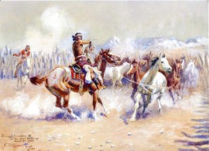 Charles Marion Russell - Navajo Wild Horse Hunters