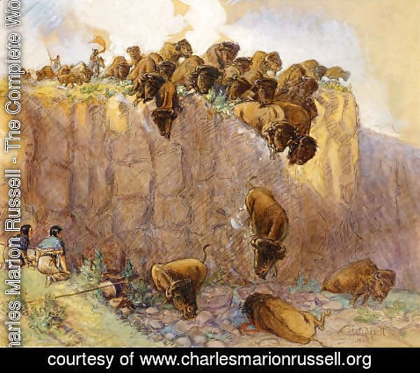 Charles Marion Russell - Driving Buffalo Over the Cliff