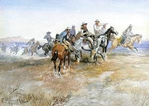 Charles Marion Russell - Start of Roundup