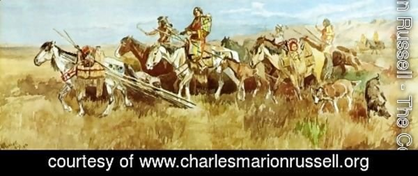 Charles Marion Russell - Indian Women Moving Camp I