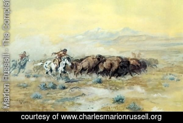 Charles Marion Russell - The Buffalo Hunt
