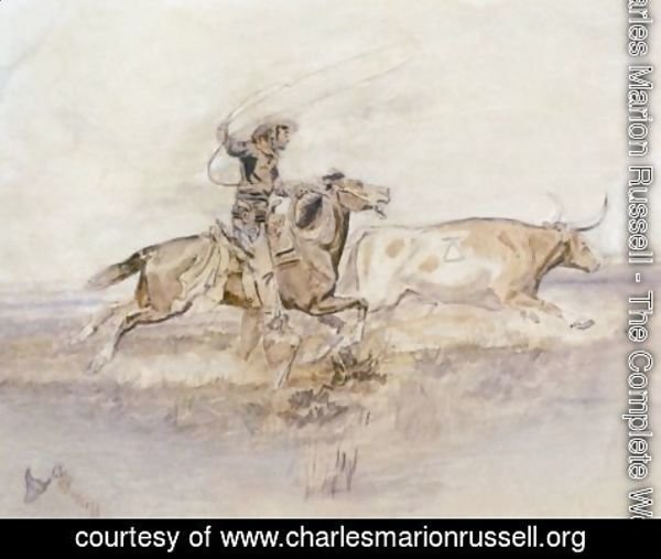Charles Marion Russell - Cowboy Lassoing A Steer