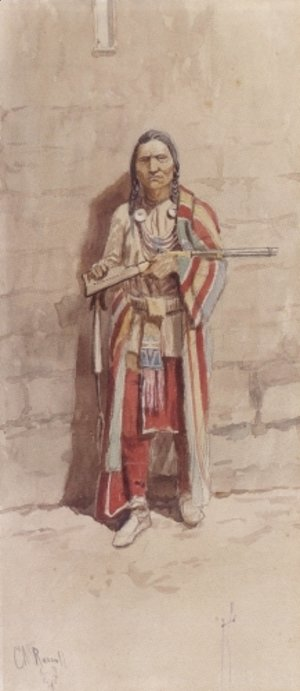 Charles Marion Russell - Indian With His Winchester