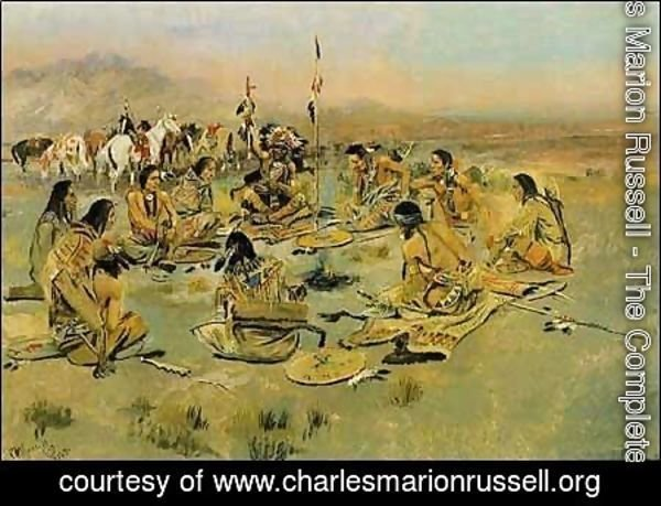 Charles Marion Russell - War Council on the Plains