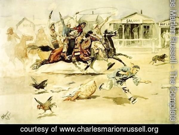 Charles Marion Russell - Whooping It Up (also known as A Quiet Day in Chinook)