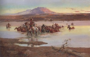 Charles Marion Russell - Fording The Horse Herd 1900