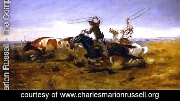 Charles Marion Russell - O.H.Cowboys Roping a Steer