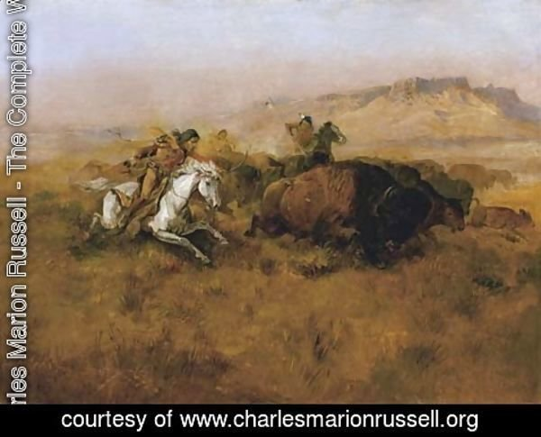 Charles Marion Russell - Buffalo Hunt No. 12