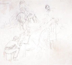Charles Marion Russell - Charlie Painting in His Cabin (various sketches)
