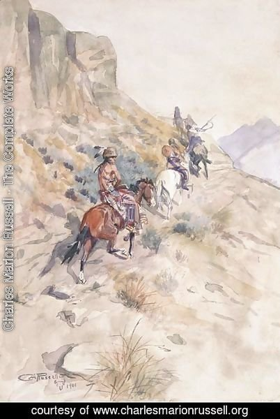 Charles Marion Russell - Indians on a Mountain Path