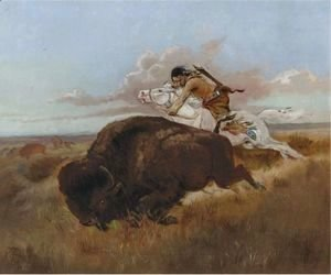 Charles Marion Russell - Buffalo Hunting
